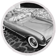 1954 Chevrolet Corvette -270bw Round Beach Towel