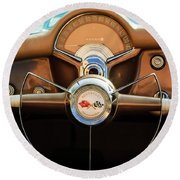 1954 Chevrolet Corvette Convertible  Steering Wheel Round Beach Towel by Jill Reger