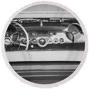1954 Chevrolet Corvette Steering Wheel -139bw Round Beach Towel