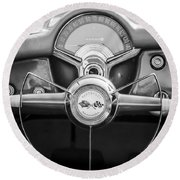 1954 Chevrolet Corvette Steering Wheel -382bw Round Beach Towel