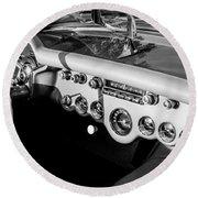 1954 Chevrolet Corvette Steering Wheel -502bw Round Beach Towel