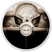 1954 Chevrolet Corvette Steering Wheel Emblem Round Beach Towel