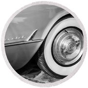 1954 Chevrolet Corvette Wheel Emblem -159bw Round Beach Towel