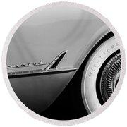 1954 Chevrolet Corvette Wheel Emblem -282bw Round Beach Towel