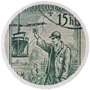 1954 Czechoslovakian Construction Worker Stamp Round Beach Towel