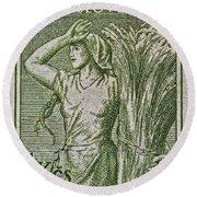 1954 Czechoslovakian Farm Woman Stamp Round Beach Towel