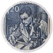 1954 Czechoslovakian Scientist Stamp Round Beach Towel