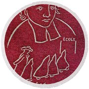 1954 De La Salle Monaco Stamp Round Beach Towel
