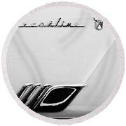1954 Ford Crestline Skyliner Emblem -0560bw Round Beach Towel