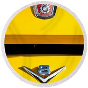 1954 Ford F-100 Custom Pickup Truck Emblems Round Beach Towel