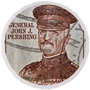 1954 General John J. Pershing Stamp Round Beach Towel