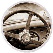 1954 Jaguar Xk120 Roadster Steering Wheel Emblem Round Beach Towel