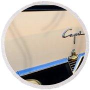 1954 Lincoln Capri Convertible Emblem 2 Round Beach Towel by Jill Reger