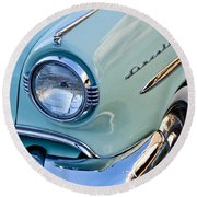 1954 Lincoln Capri Headlight Round Beach Towel