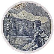 1954 Mount Aspiring New Zealand Stamp Round Beach Towel