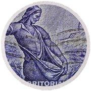 1954 Nebraska Territorial Stamp Round Beach Towel