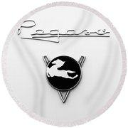 1954 Pegaso Z-102 Saoutchik Coue Emblem -2218bw Round Beach Towel