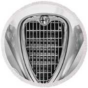 1955 Alfa Romeo 1900 Css Ghia Aigle Cabriolet Grille Emblem -0564bw Round Beach Towel