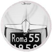 1955 Alfa Romeo 1900 Css Ghia Aigle Cabriolet Grille Emblem - Super Sprint Emblem -0601bw Round Beach Towel