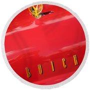 1955 Buick Roadmaster Hood Ornament - Emblem Round Beach Towel