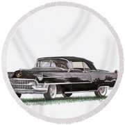 1955 Cadillac Series 62 Convertible Round Beach Towel