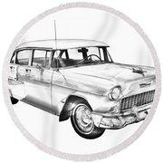 1955 Chevrolet Bel Air Illustration Round Beach Towel