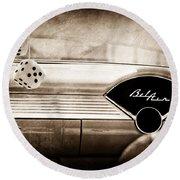 1955 Chevrolet Belair Dashboard Emblem Round Beach Towel
