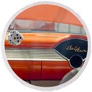 1955 Chevrolet Belair Dashboard Round Beach Towel