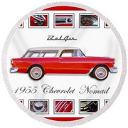 1955 Chevrolet Belair Nomad Art Round Beach Towel