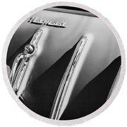 1955 Chevrolet Belair Nomad Hood Ornament -559bw Round Beach Towel