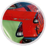 1955 Chevrolet Belair Nomad Taillights Round Beach Towel