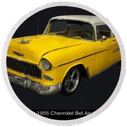 1955 Chevy Bel Air Harvest Gold Round Beach Towel