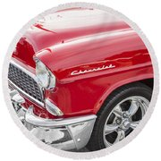 1955 Chevy Cherry Red Round Beach Towel