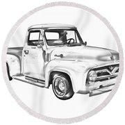 1955 F100 Ford Pickup Truck Illustration Round Beach Towel