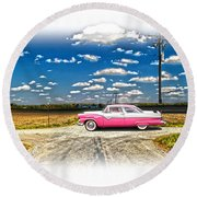 1955 Ford Crown Victoria Crossroads In Life Round Beach Towel