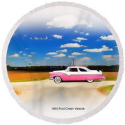 1955 Ford Crown Victoria Sweet Round Beach Towel
