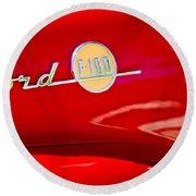 1955 Ford F-100 Pickup Truck Side Emblem -3515c Round Beach Towel