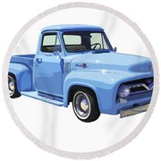 1955 Ford F100 Blue Pickup Truck Canvas Round Beach Towel