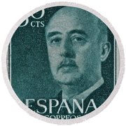 1955 General Franco Spanish Stamp Round Beach Towel