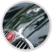 Jaguar Xk 150 Hood Ornament  Round Beach Towel
