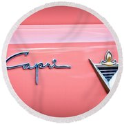 1955 Lincoln Capri Emblem 2 Round Beach Towel