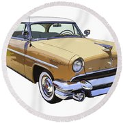 1955 Lincoln Capri Fine Art Illustration  Round Beach Towel