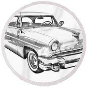 1955 Lincoln Capri Luxury Car Illustration Round Beach Towel