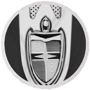 1955 Lincoln Indianapolis Boano Coupe  Emblem -0283bw Round Beach Towel