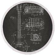 1955 Mccarty Gibson Les Paul Guitar Patent Artwork - Gray Round Beach Towel