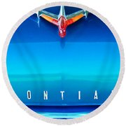 1955 Pontiac Safari Hood Ornament 4 Round Beach Towel