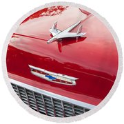 1955 Red Chevy Round Beach Towel