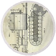 1955 Rocket Launcher Patent Drawing Round Beach Towel