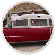 1955 Superior Cadillac Passenger Ambulance Round Beach Towel