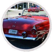 1955 T-bird Round Beach Towel by Laura Fasulo